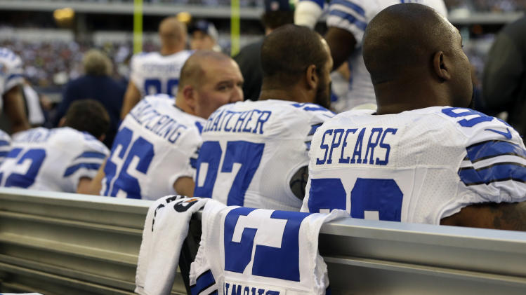 A jersey with Jerry Brown, Jr.'s number is displayed on the Dallas Cowboys sideline during the first half of an NFL football game against the Pittsburgh Steelers Sunday, Dec. 16, 2012 in Arlington, Texas. Brown died in a car crash last week and teammate Josh Brent was the driver. (AP Photo/Tony Gutierrez)