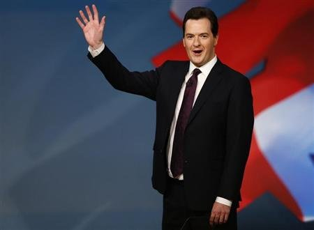 Chancellor George Osborne, is seen waving after delivering his keynote speech at the Conservative Party conference in Birmingham, central England in this October 8, 2012 file photograph. REUTERS/Darren Staples