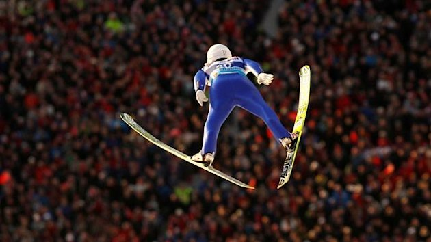 Japan's Daiki Ito soars through the air during the first round of the Ski-Flying World Championships in Vikersund February 25, 2012.