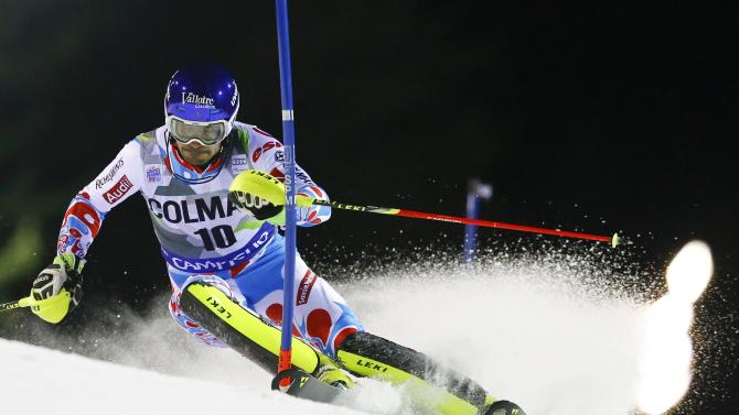 Grange of France clears a gate during the men's World Cup Slalom skiing race in Madonna di Campiglio