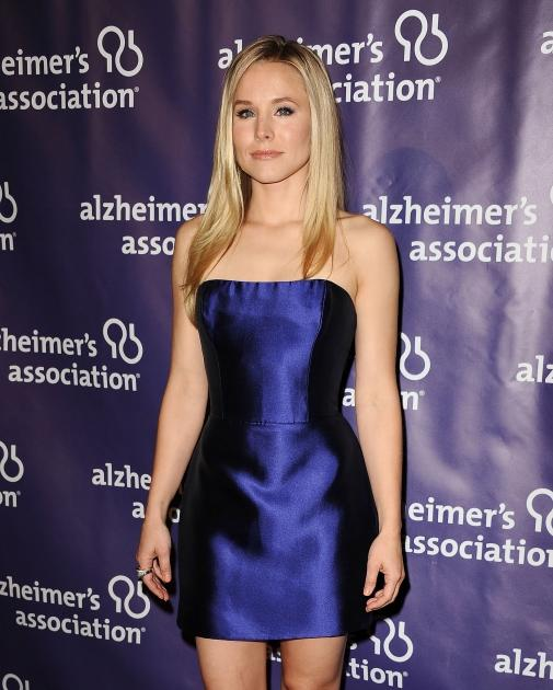Kristen Bell sports a blue minidress at the 20th anniversary of Alzheimer's Association's 'A Night At Sardi's' fundraiser and awards dinner at The Beverly Hilton Hotel in Beverly Hills, Calif. on March 21, 2012 -- FilmMagic