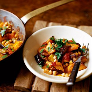 butternut squash aubergine chickpea stew