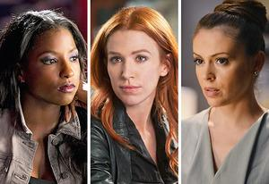 Rutina Wesley, Poppy Montgomery, Alyssa Milano | Photo Credits: John P. Johnson/HBO; Barbara Nitke/CBS; Eric McCandless/ABC