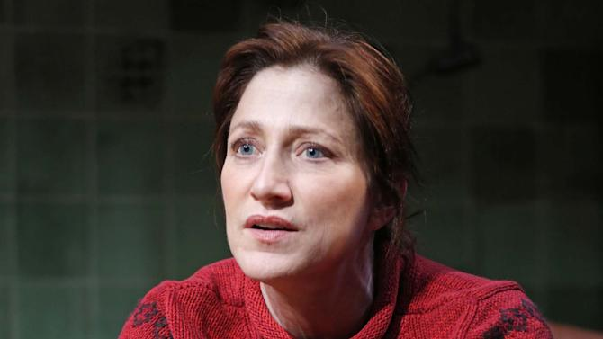 """This undated theater image released by Boneau/Bryan-Brown shows Edie Falco during a performance of """"The Madrid."""" (AP Photo/Boneau/Bryan-Brown, Joan Marcus)"""