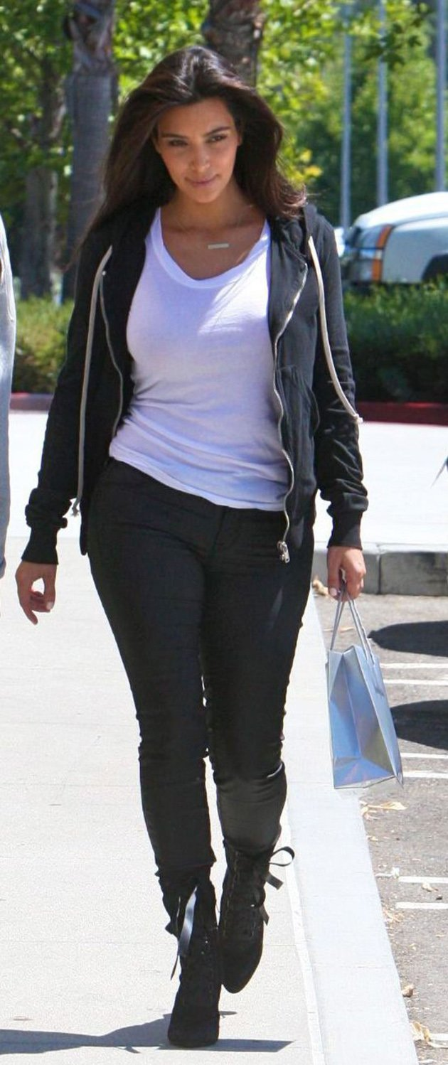 Kim Kardashian dressed down