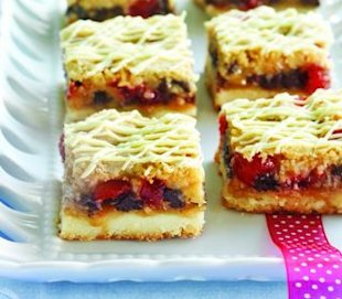 Dessert recipes: Chocolate cherry shortbread bars