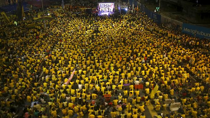 "A view of crowd of supporters of pro-democracy group ""Bersih"" (Clean) gathering outside the Dataran Merdeka in the capital city of Kuala Lumpur"