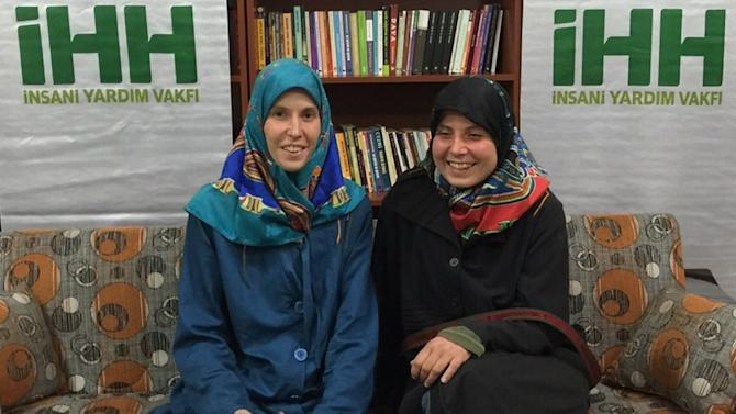 Antonie Chrastecka (L) and Hana Humpalova, who were kidnapped in Pakistan in 2013, pose after being rescued in eastern Turkey on March 27, 2015