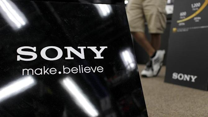 Logo of Sony Corp is pictured at an electronic store in Tokyo