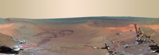 This full-circle scene combines 817 images taken by the panoramic camera (Pancam) on NASA's Mars Exploration Rover Opportunity on the planet Mars