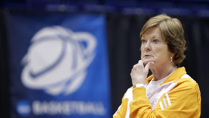 """FILE - In this March 25, 2011, file photo, Tennessee head coach Pat Summitt watches practice for an NCAA women's college basketball tournament regional semifinal, n Dayton, Ohio. Summitt, the sport's winningest coach, is stepping aside as Tennessee's women's basketball coach and taking the title of """"head coach emeritus"""", the university announced Wednesday, April 18, 2012. Long-time assistant Holly Warlick has been named as Summitt's successor.  (AP Photo/Al Behrman, File)"""