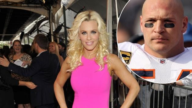 Jenny McCarthy of 'Love In The Wild' is all smiles at the 2012 NBC Upfront Presentation in New York City on May 14, 2012 / inset: NFL player Brian Urlacher -- Getty Premium