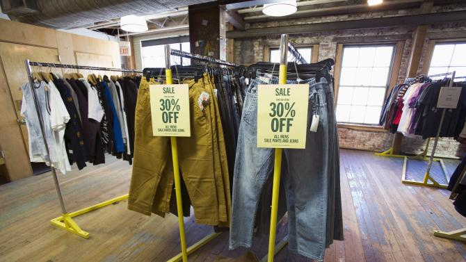 Pants are for sale at an Urban Outfitters store in Pasadena, California