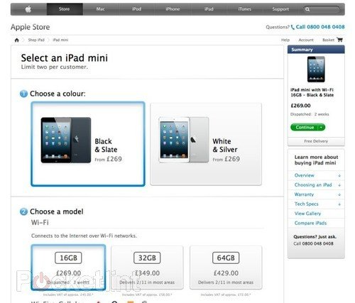 16GB iPad mini UK pre-orders already sold out, all white versions two week delay. Tablets, Apple, iPad mini, iPad 0