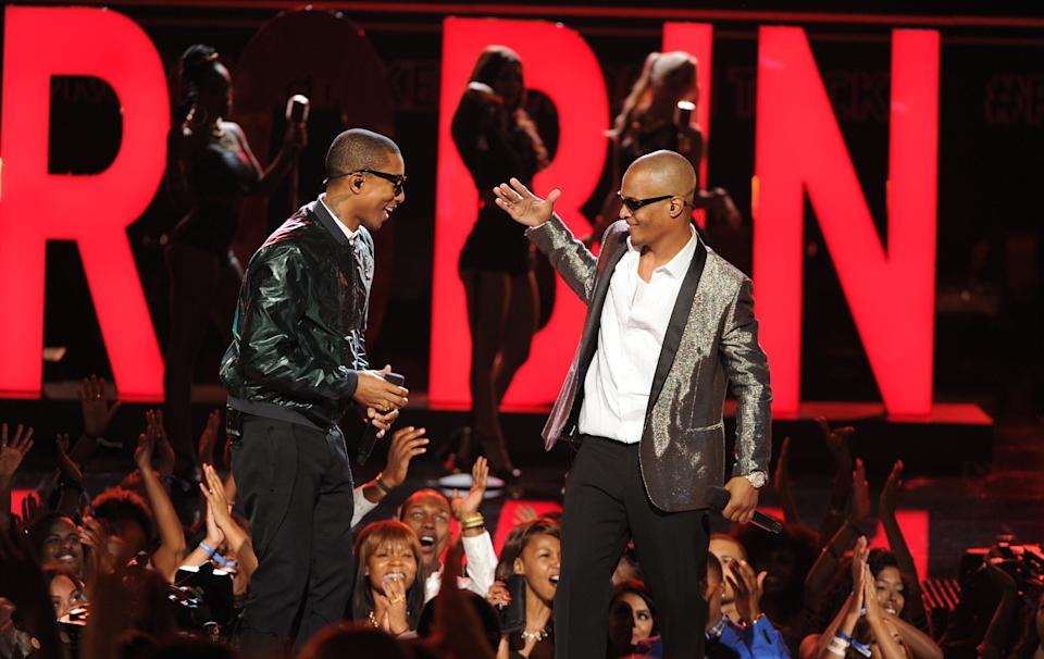 Pharrell Williams, left, and T.I. perform onstage at the BET Awards at the Nokia Theatre on Sunday, June 30, 2013, in Los Angeles. (Photo by Frank Micelotta/Invision/AP)