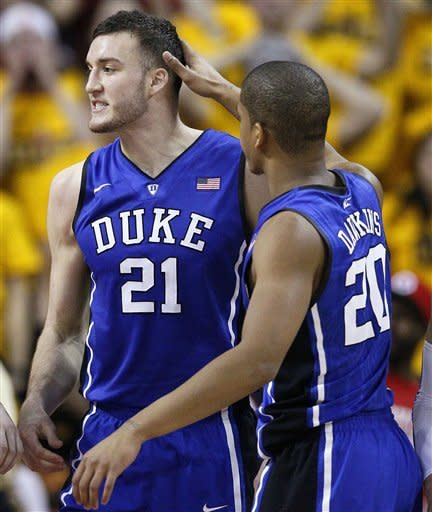 Plumlee leads No. 8 Duke over Maryland 74-61