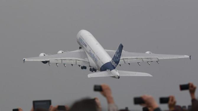 An Airbus A380 plane takes off during a demonstration flight at the MAKS International Aviation and Space Salon in Zhukovsky