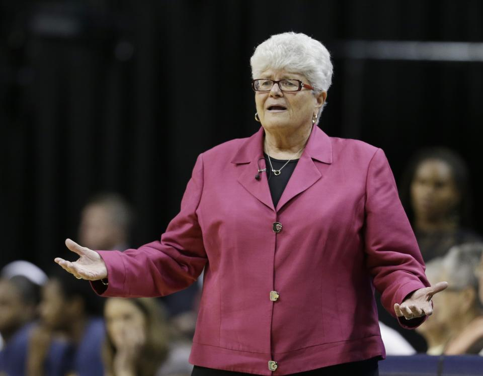 Indiana Fever head coach Lin Dunn argues a call during the first half of Game 2 of the WNBA basketball Eastern Conference Finals against the Connecticut Sun, Monday, Oct. 8, 2012, in Indianapolis. (AP Photo/Darron Cummings)
