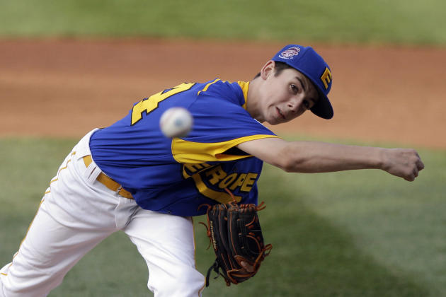 Rotterdam, Netherlands' Angelo Wicklert pitches in the first inning of a pool play baseball game against Dhahran, Saudi Arabia at the Little League World Series, Saturday, Aug. 20, 2011, in South Will