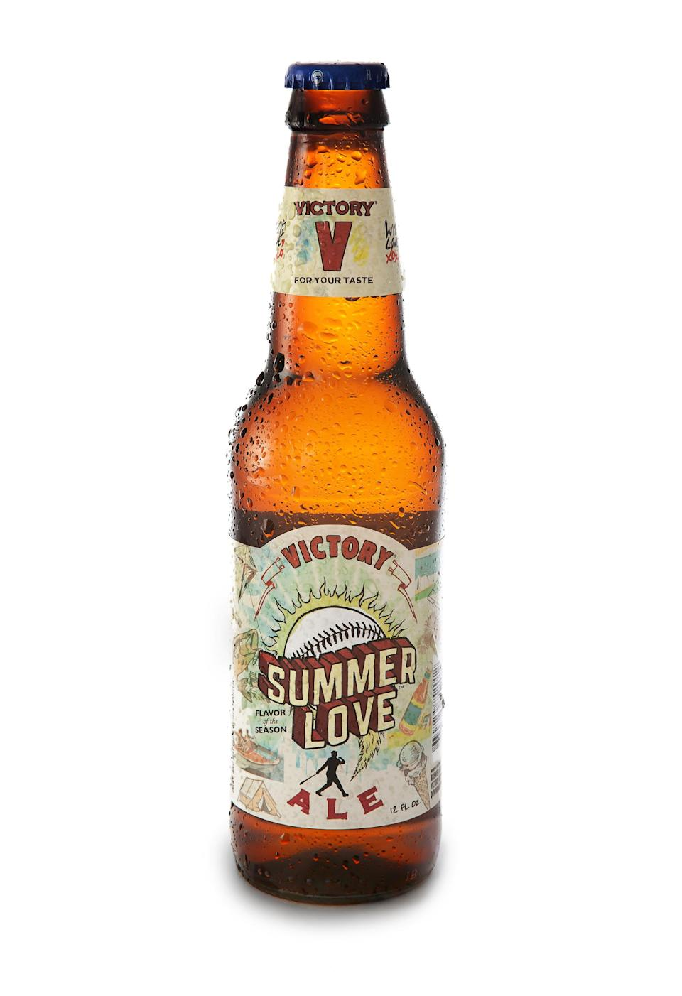 In this May 25, 2011 publicity photo provided by Victory Brewing Company, a bottle of Summer Love ale is shown in Wilmington, Del. (AP Photo/Victory Brewing Company, Jessica Bratton)