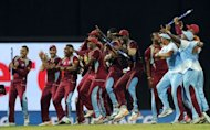 West Indies cricketers celebrate their victory in the ICC Twenty20 Cricket World Cup's final match against Sri Lanka at the R. Premadasa International Cricket Stadium in Colombo