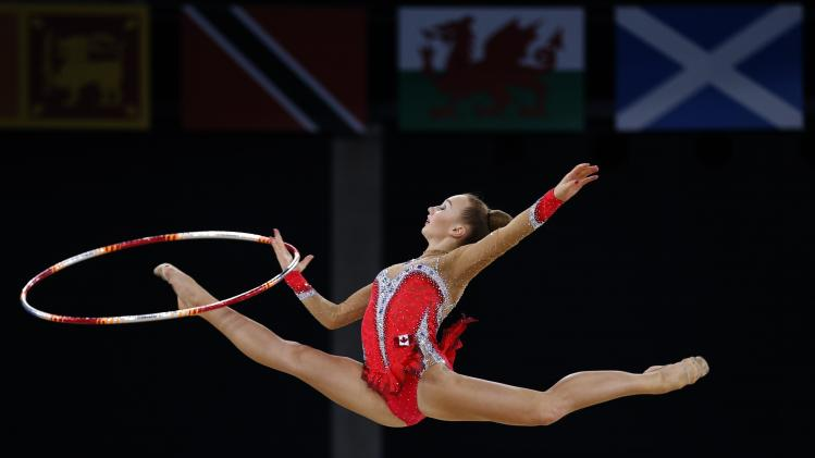 Bezzoubenko of Canada performs during her hoop routine as she competes in the rhythmic gymnastics individual apparatus final at the 2014 Commonwealth Games in Glasgow