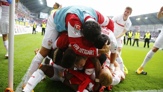 VFB Stuttgart's players celebrate after defeating SC Paderborn during their German Bundesliga first division soccer match in Paderborn