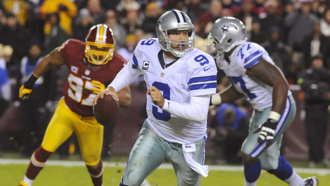 Dallas Cowboys quarterback Tony Romo (9) scrambles during the first half of an NFL football game against the Washington Redskins on Sunday, Dec. 30, 2012, in Landover, Md. (AP Photo/Richard Lipski)