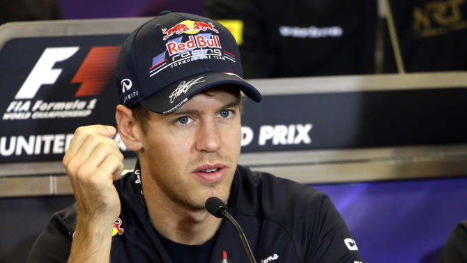 Red Bull driver Sebastian Vettel, of Germany, answers a question during a news conference at the Circuit of the Americas race track Thursday, Nov. 15, 2012, in Austin, Texas. Formula One's U.S. Grand Prix auto race is scheduled for Sunday at the track. (AP Photo/David J. Phillip)