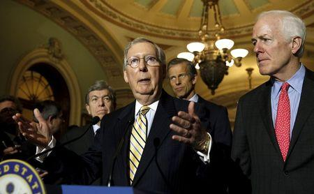 McConnell speaks to reporters in the Capitol in Washington