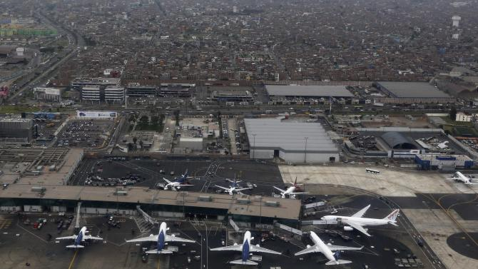 Aerial view of aeroplanes at Jorge Chavez International airport in Callao
