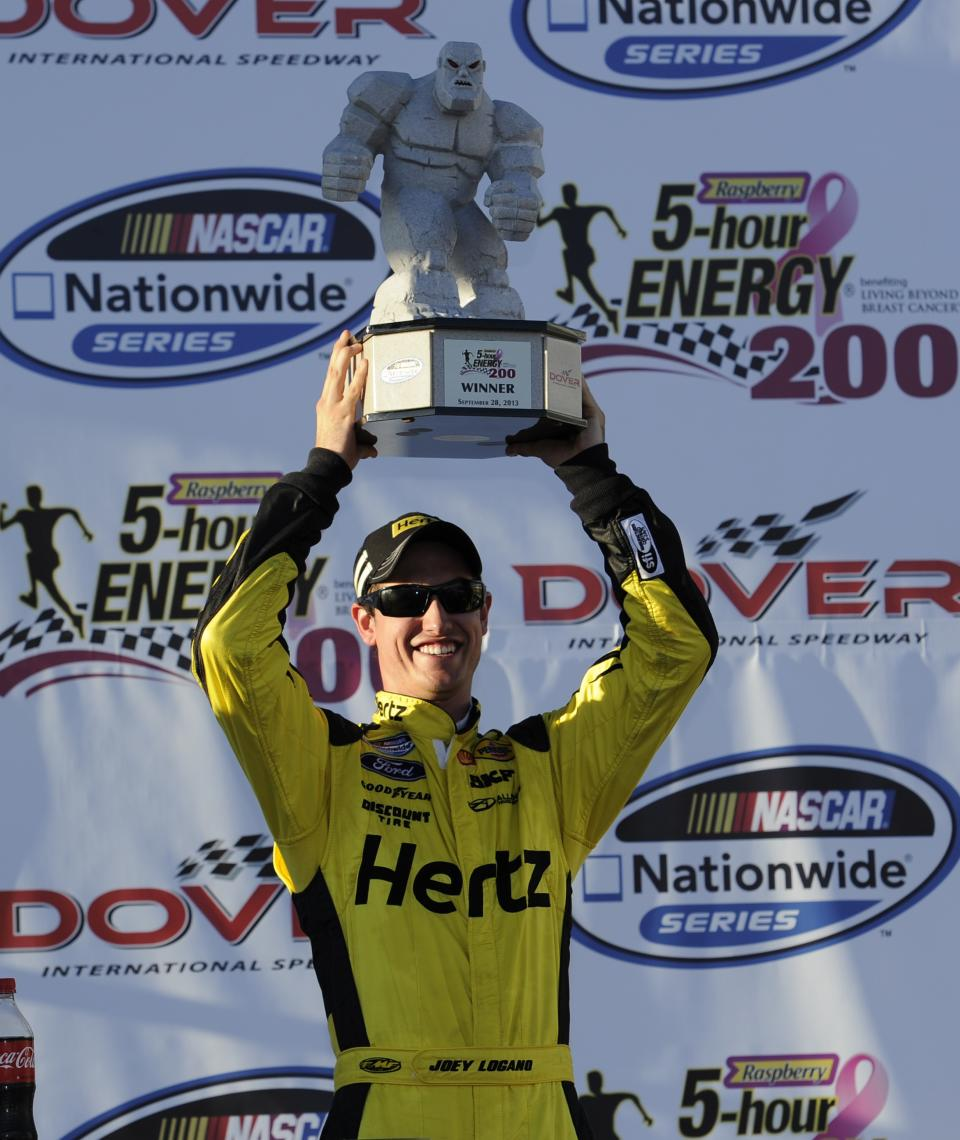 Joey Logano poses with the trophy for photographers in Victory Lane after winning a NASCAR Nationwide Series auto race on Saturday, Sept. 28, 2013, at Dover International Speedway in Dover, Del. (AP Photo/Nick Wass)