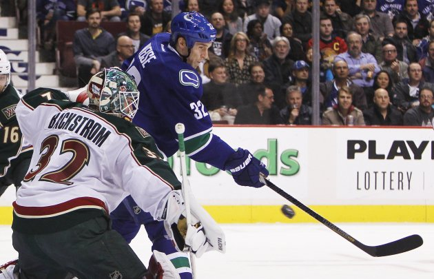 Minnesota Wild goaltender Backstrom makes a save against Vancouver Canucks during first period NHL game in Vancouver