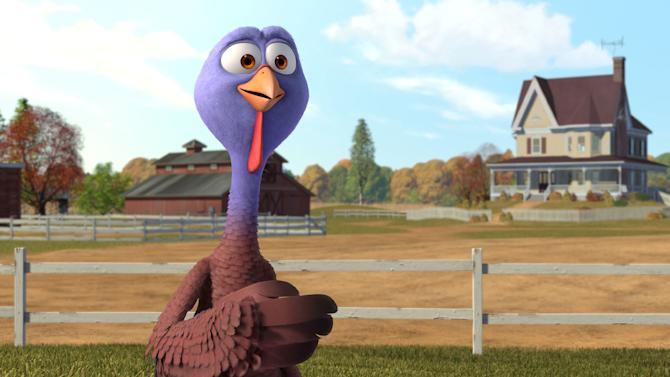 "This image released by Relativity Media shows Reggie, voiced by Owen Wilson in a scene from the animated film ""Free Birds."" (AP Photo/Relativity Media)"