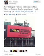 Massachusetts gun violence billboard Newtown