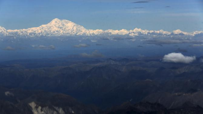 Denali, formerly known as Mount McKinley, can be seen from Air Force One as U.S. President Barack Obama arrives in Anchorage