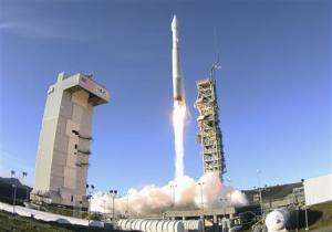 An Atlas 5 ULA (United Launch Alliance) rocket carrying a satellite for the Defense Meteorological Satellite Program is launched from Vandenberg Air Force Base in California