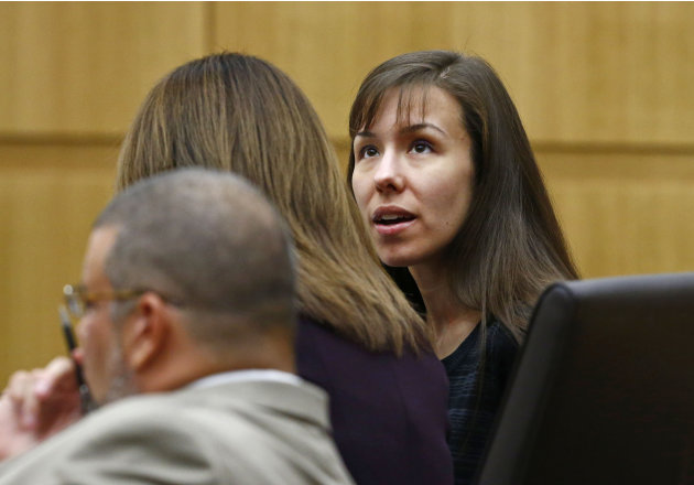 Jodi Arias talks to her defense attorney Jennifer Wilmott on Tuesday, May 21, 2013 during the penalty phase of her murder trial at Maricopa County Superior Court in Phoenix. Arias was convicted of fir