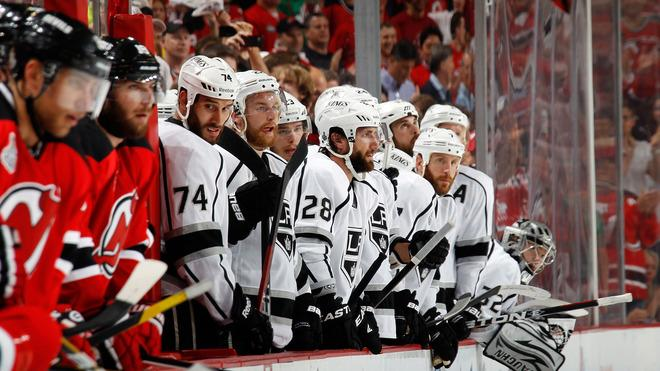 Dwight King #74, Matt Greene #2 And Jarret Stoll #28 Of The Los Angeles Kings Look On Late In The Game Against The New  Getty Images