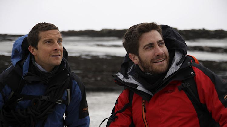 "Bear Gylls and Jake Gyllenhaal in Iceland as seen on ""Man vs. Wild."""