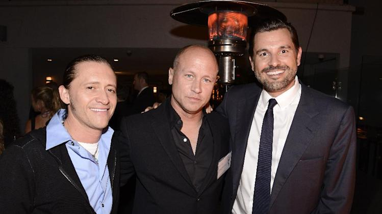 Clifton Collins, and from left, Mike Judge and Ben Tappan attend the Television Academy's 66th Emmy Awards Producers Nominee Reception at the London West Hollywood on Friday, Aug. 22, 2014. (Photo by Dan Steinberg/Invision for the Television Academy/AP Images)