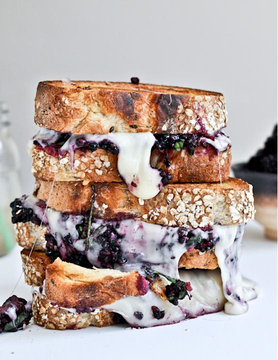 Grilled Fontina + Blackberry Basil Smash Sandwich
