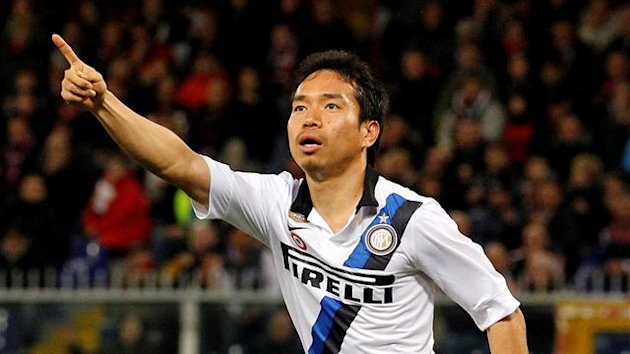 Inter Milan's Yuto Nagatomo celebrates after scoring against Genoa during their Italian Serie A soccer match at the Luigi Ferraris stadium in Genoa December 13, 2011