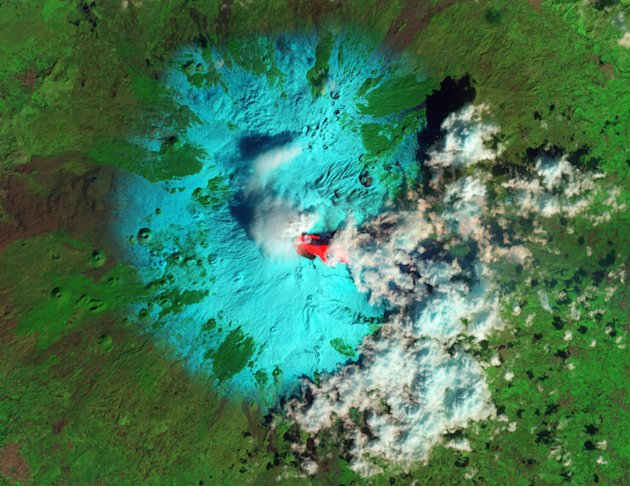Italy's Etna Volcano is seen erupting in this false-color NASA handout image