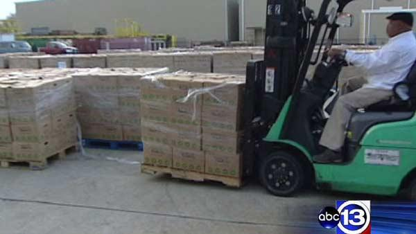 Houston Food Bank volunteers packing thousands of holiday meals
