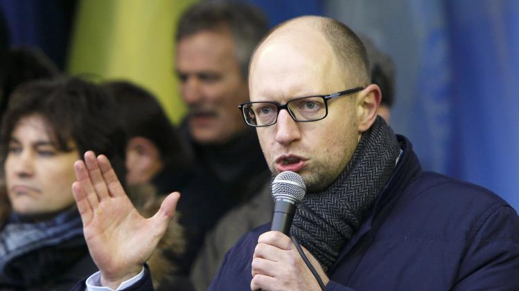 Former economy minister and an opposition leader Arseny Yatsenyuk addresses supporters of EU integration during a rally in central Kiev