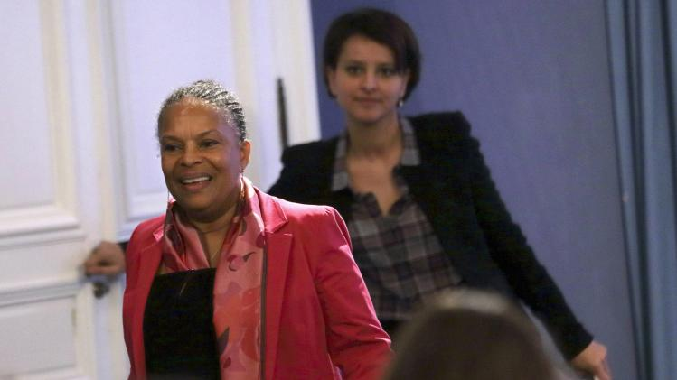 French Justice Minister Taubira and Women's Rights Minister Vallaud-Belkacem arrive at a news conference at the Elysee Palace in Paris