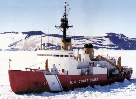 United States Coast Guard Heavy Icebreaker Polar Sea (WAGB 11) in the ice channel near McMurdo, Antarctica