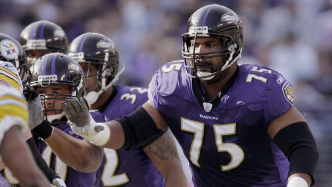 FILE - In this Nov. 26, 2006 file photo, Baltimore Ravens offensive lineman Jonathan Ogden blocks against the Pittsburgh Steelers during the first half of an NFL football game in Baltimore. Ogden was named as a finalist for the Pro Football Hall of Fame, the hall announced Friday, Jan. 11, 2013. (AP Photo/Chris Gardner, File)