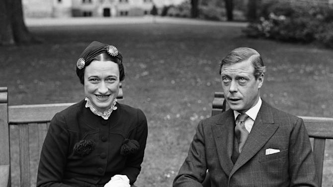 FILE - This is  a May 7, 1937 file photo of Edward, The Duke of Windsor and Mrs. Wallis Simpson at the Chateau de Cande, near Touraine, France before they are married.  Watch out, Kate Middleton. Another royal consort is in the limelight as the royal wedding approaches. Wallis Simpson, the American divorcee who scandalized Britain and brought down a king in the 1930s, is back in style.(AP Photo/Len Putnam, File)